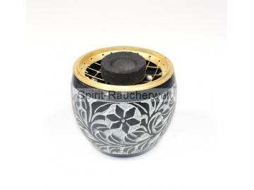Räuchergefäß Kumo mit Gittereinsatz, Speckstein schwarz