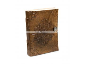 Buch der Schatten - Blütenmandala | Notizbuch mit Ledereinband