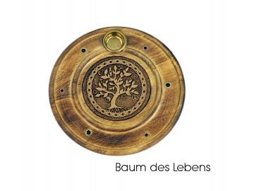 Räucherstäbchen- u. Kegelhalter Baum des Lebens aus Holz