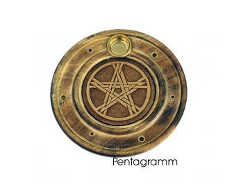 Räucherstäbchen & Kegelhalter Pentagramm aus Holz