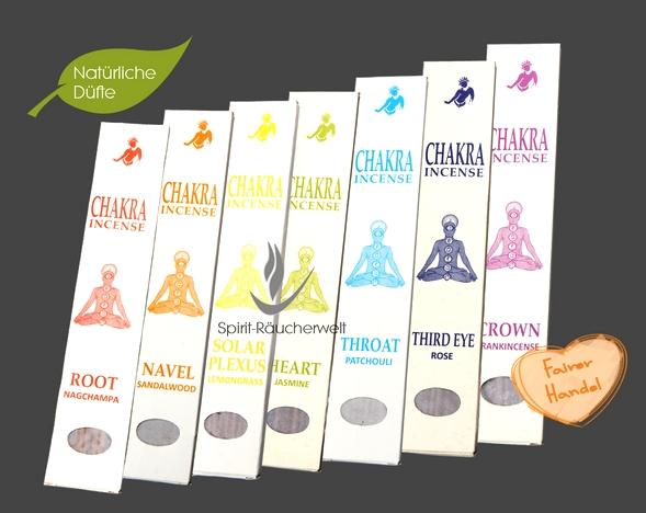 Chakra Set -  Root, Navel, Solar Pexus, Heart, Throat, Third Eye, Crown - Tibetische Chakra Räucherstäbchen - Buddhist Incense