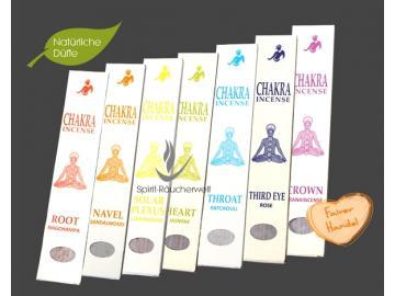 Tibetisches Chakra 7er-Set Räucherstäbchen - Root, Navel, Solar Pexus, Heart, Throat, Third Eye, Crown - Buddhist Incense