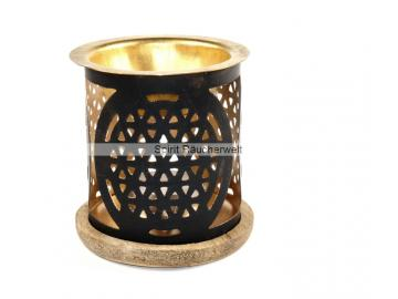 Duftlampe/ Windlicht Blume des Lebens aus Metall