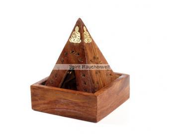 Räucherkegelhalter Pyramide - 2 tlg Kegelhalter aus Holz