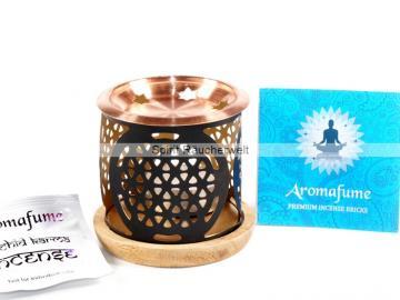 Blume des Lebens - Aromafume Diffuser - 3-teiliges Stövchen mit Kupferteller