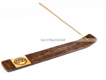 Yin Yang Räucherstäbchenhalter aus Palmholz
