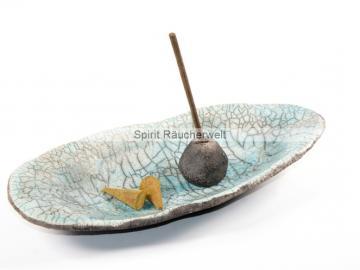 Exklusive getöpferte Raku Räucherschale Spirale Nr2 - Modern Art