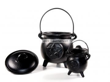Räucherkessel - Hexenkessel Gußeisen - Caldron Pentaramm | Räuchergefäß - Ritualbedarf