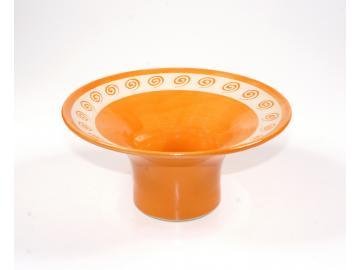 Räucherschale getöpfert aus Keramik - Ton | Spirale orange