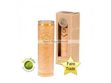 Chakra Kerze - 2. Chakra Kerze im Glas mit naturreinen äth. Ölen - faire Trade und GreenPalm zertifiziert