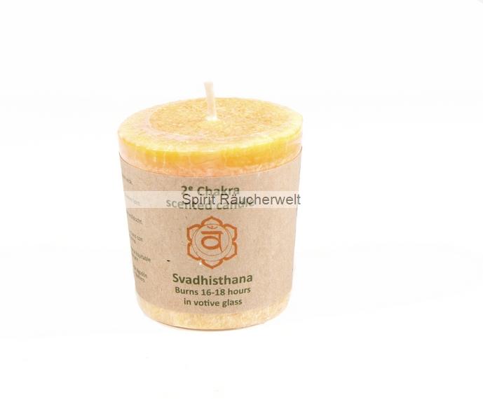 2.Chakra Kerze klein-orange Sakralchakra