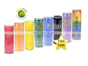 Chakra-Kerzenset - 8 Chakrakerzen im günstigen Set - faire Trade und GreenPalm zertifiziert