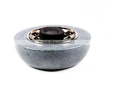 Zen Räuchergefäß klein Speckstein grau mit Netzeinsatz vernickelt