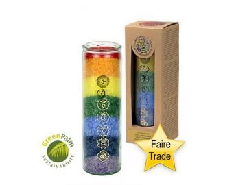 Multicolor 7 Chakra Kerze mit naturreinen äth. Ölen