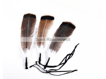 Wild-Truthahn Räucherfeder dunkel lederumwickelt