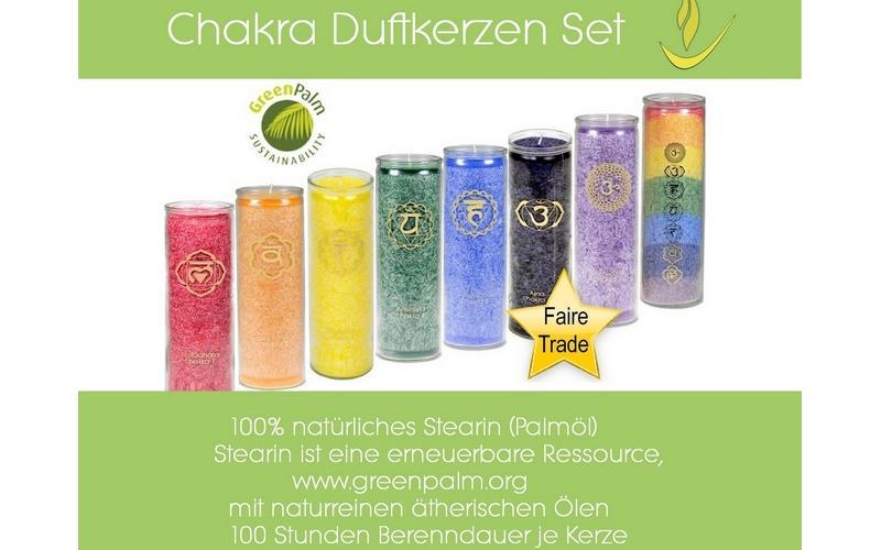 Chakra Kerzenset mit u00e4therischen u00d6len - faire Trade & u00f6kologisch